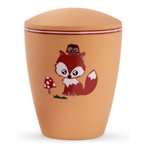 Biodegradable Cremation Ashes Urn (Infant / Child / Boy / Girl) – Orange with Illustrated Fox